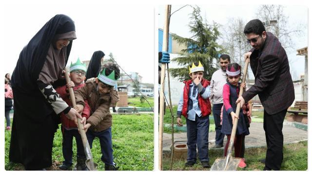 به مناسبت هفته درختکاری صورت گرفت؛ کاشت نهال در پارک های ابریشم و بهاران رشت